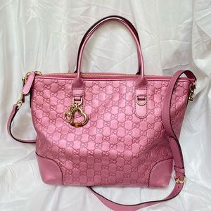 Gucci Metallic Pink Guccissima Leather Two-Way